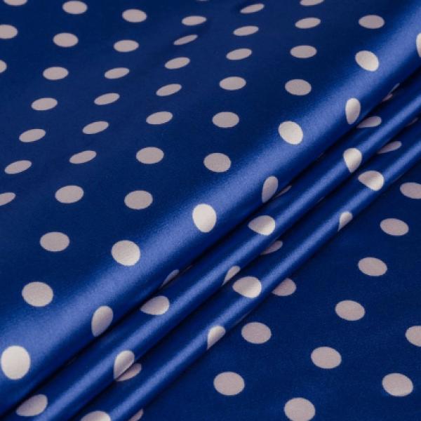 Ткань плательно-блузочная   Атлас горохи (синий) купить оптом в Беларуси