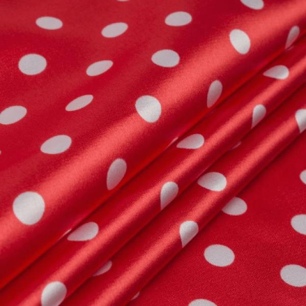 Ткань плательно-блузочная   Атлас горохи (красный) купить оптом в Беларуси