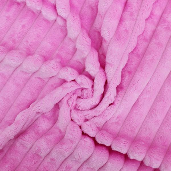 Трикотажное полотно Велсофт полоски (розовый) купить оптом в Беларуси