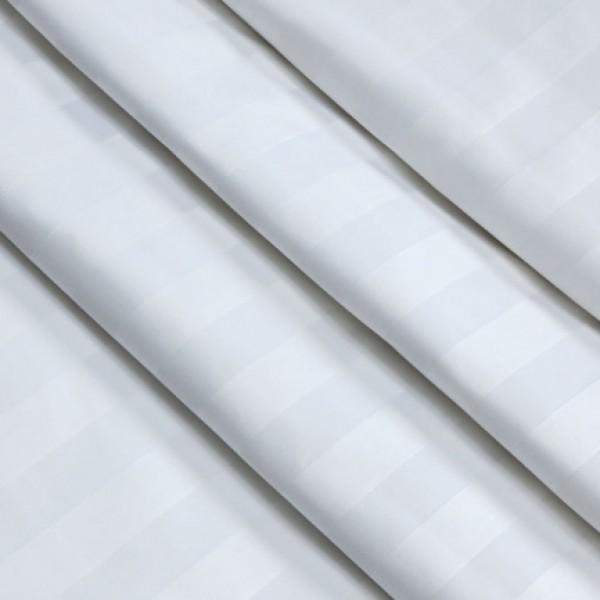Ткань  Постельная Страйп-сатин 3х3 (белый) купить оптом в Беларуси