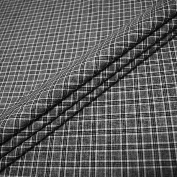 Ткань костюмная  Габардин клетка (графит) купить оптом в Беларуси